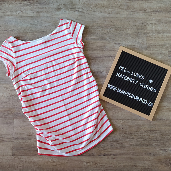 Red and White Stripes Short Sleeve Top