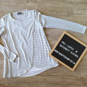 Grey and White Stripe Long Sleeve Top